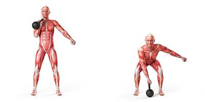 Person Using Kettlebell Poster