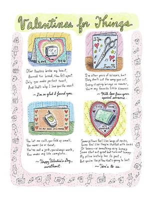 Valentines For Things Poster by Roz Chast