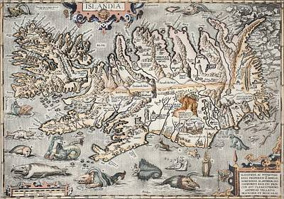 1603 Ortelius Iceland Monster Map Poster by Paul D Stewart