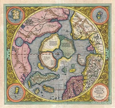 1606 Mercator Hondius Map Of The Arctic Poster