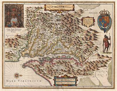 1630 Virginia Map Poster by Dan Sproul