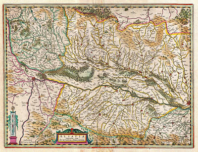 1644 Jansson Map Of Alsace Basel And Strasbourg Geographicus Alsatiasuperior Jansson 1644 Poster by MotionAge Designs