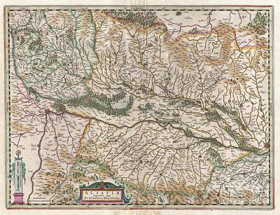 1644 Jansson Map Of Alsace  Poster by Paul Fearn