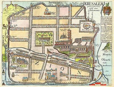 1650 Fuller Map Of Jerusalem Israel Palestine  Holy Land Geographicus Jerusalem Fuller 1650 Poster by MotionAge Designs