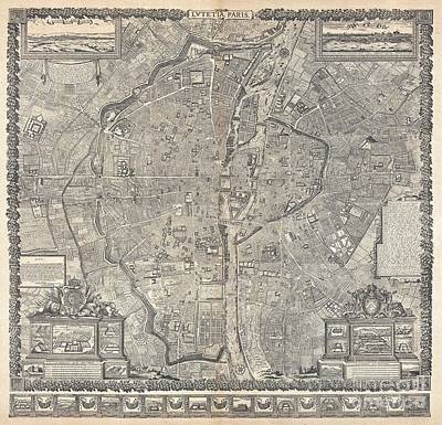 1652 Gomboust Map Of Paris France  Poster by Paul Fearn