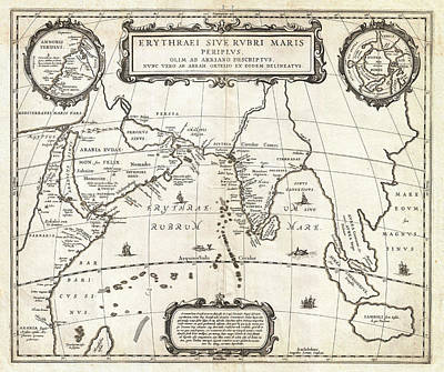 1658 Jansson Map Of The Indian Ocean Erythrean Sea In Antiquity Geographicus Erythraeansea Jansson 1 Poster by MotionAge Designs