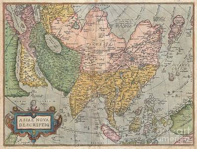 1670 Ortelius Map Of Asia  Poster by Paul Fearn