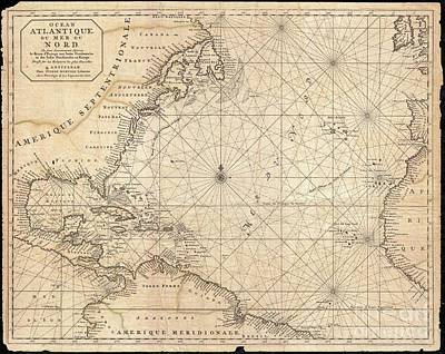 1683 Mortier Map Of North America The West Indies And The Atlantic Ocean  Poster by Paul Fearn
