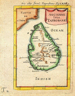 1686 Mallet Map Of Ceylon Or Sri Lanka Taprobane Geographicus Taprobane Mallet 1686 Poster by MotionAge Designs