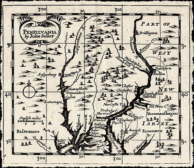 1690 Pennsylvania Map Poster by Bill Cannon