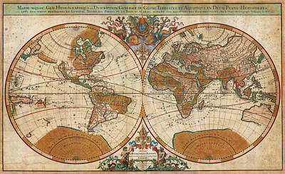 1691 Sanson Map Of The World On Hemisphere Projection Geographicus World Sanson 1691 Poster by MotionAge Designs