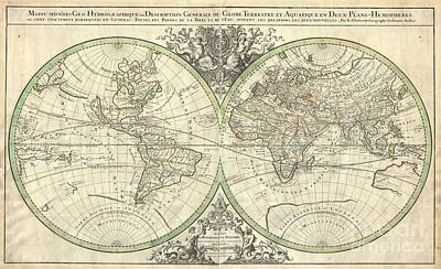 1691 Sanson Map Of The World On Hemisphere Projection Poster by Paul Fearn