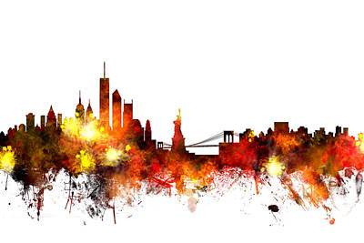 New York Skyline Poster by Michael Tompsett