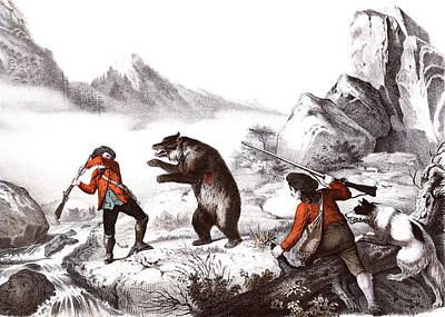 1700s 1800s Wounded Bear Attacking Man Poster