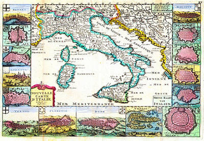 1706 De La Feuille Map Of Italy Geographicus Italy Lafeuille 1706 Poster by MotionAge Designs