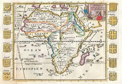 1710 De La Feuille Map Of Africa Poster by Paul Fearn