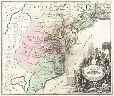 1715 Homann Map Of Carolina Virginia Maryland And New Jersey Poster