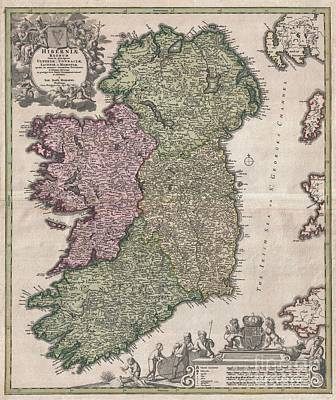 1716 Homann Map Of Ireland Poster by Paul Fearn