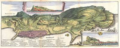 1720 De La Feuille Map And View Of Gibraltar Poster by Paul Fearn