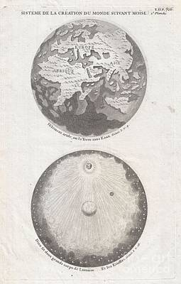 1728 Calmet Map Of The Ancient World Showing The Creation Of The Universe  Poster