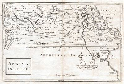 1730 Toms Map Of Central Africa Poster by Paul Fearn