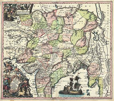 1740 Seutter Map Of India Pakistan Tibet And Afghanistan Poster by Paul Fearn