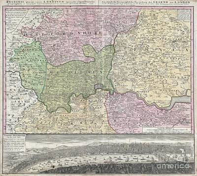 1741 Homann View And Map Of London Poster