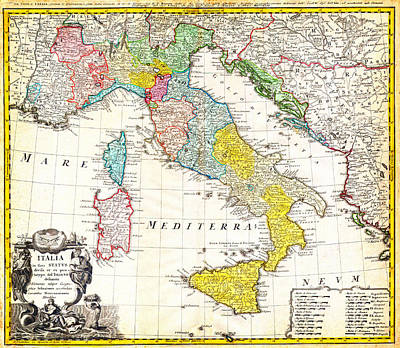 1742 Homann Heirs Map Of Italy Geographicus Italia Homannheirs 1742 Poster