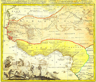 1743 Homann Heirs Map Of West Africa Slave Trade References Guinea Geographicus Aethiopia Hmhr 1743 Poster