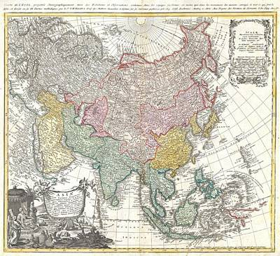 1744 Homann Heirs Map Of Asia  Poster by Paul Fearn
