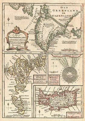 1747 Bowen Map Of The North Atlantic Islands Greenland Iceland Faroe Islands Poster