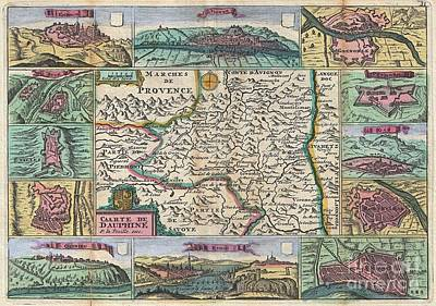 1747 La Feuille Map Of Dauphine  Poster by Paul Fearn