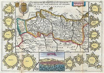 1747 La Feuille Map Of Portugal Poster