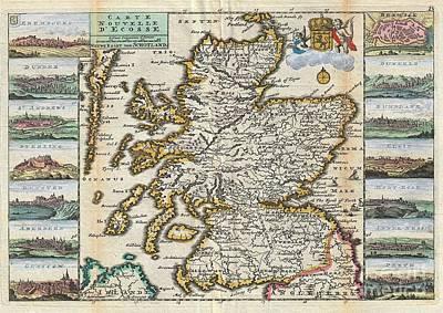 1747 La Feuille Map Of Scotland  Poster by Paul Fearn