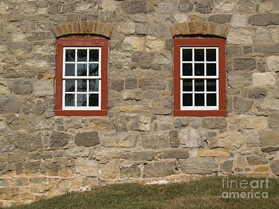 1748 Fieldstone And Windows -- Moravian College Poster by Anna Lisa Yoder