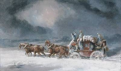 Mail Coach In A Snowstorm Poster by MotionAge Designs