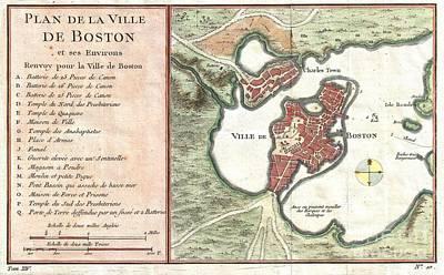 1756 Bellin Map Of Boston Massachusetts Poster by Paul Fearn