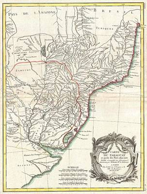 1771 Bonne Map Of Paraguay Uruguay And Brazil Poster by Paul Fearn
