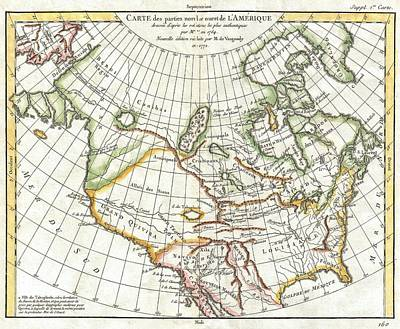 1772 Vaugondy  Diderot Map Of North America And The Northwest Passage Poster by Paul Fearn