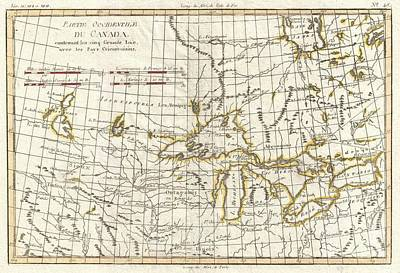 1775 Bonne Map Of The Great Lakes And Upper Mississippi  Poster