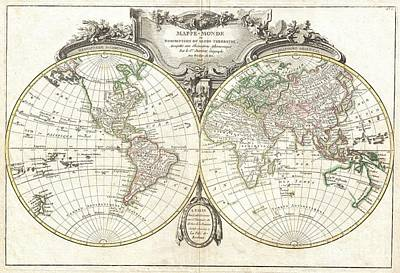 1775 Lattre And Janvier Map Of The World On A Hemisphere Projection  Poster by Paul Fearn