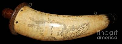 1775 Scrimshaw Map Of Boston Carved On Revolutionary War Powder Horn Poster by Paul Fearn