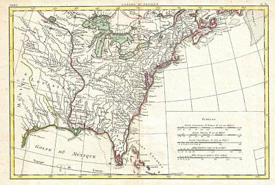 1776 Bonne Map Of Louisiana And The British Colonies In North America Poster by Paul Fearn