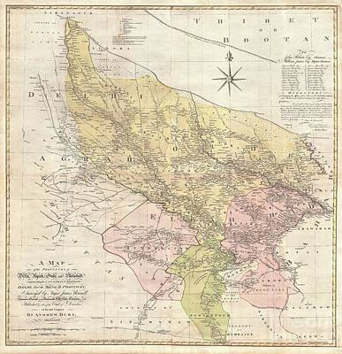 1777 Rennell  Dury Wall Map Of Delhi And Agra India Poster