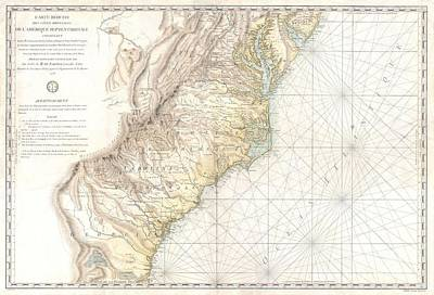 1778 Sartine Map Of Georgia North Carolina South Carolina Virginia And Maryland Poster by Paul Fearn
