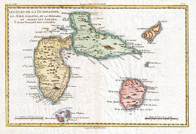 1780 Raynal And Bonne Map Of Guadeloupe West Indies Poster by Paul Fearn