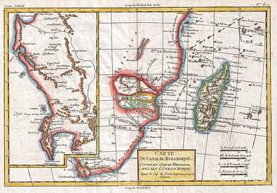 1780 Raynal And Bonne Map Of South Africa Zimbabwe Madagascar And Mozambique Poster by Paul Fearn