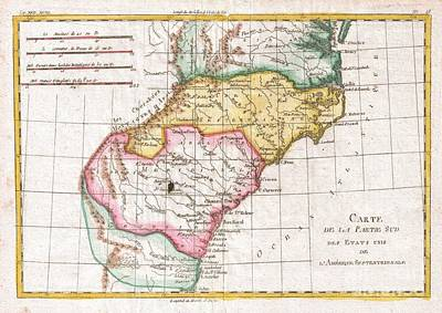 1780 Raynal And Bonne Map Of Southern United States Poster by Paul Fearn