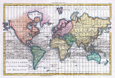 1780 Raynal And Bonne Map Of The World Poster by Paul Fearn