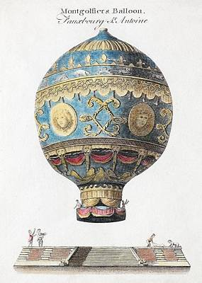 1783 Montgolfiers First Manned Balloon Poster by Paul D Stewart